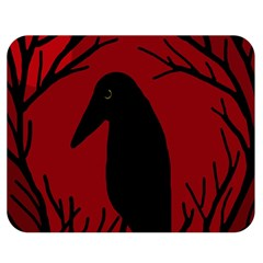 Halloween raven - red Double Sided Flano Blanket (Medium)