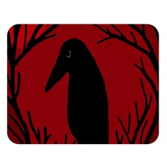 Halloween raven - red Double Sided Flano Blanket (Large)