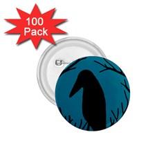 Halloween raven - Blue 1.75  Buttons (100 pack)