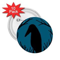 Halloween raven - Blue 2.25  Buttons (10 pack)