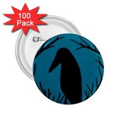 Halloween raven - Blue 2.25  Buttons (100 pack)