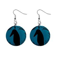 Halloween raven - Blue Mini Button Earrings