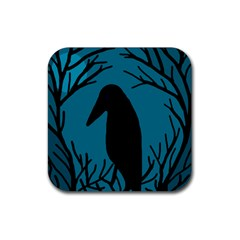 Halloween Raven   Blue Rubber Coaster (square)