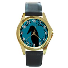 Halloween raven - Blue Round Gold Metal Watch