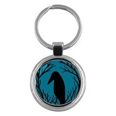 Halloween raven - Blue Key Chains (Round)
