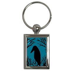 Halloween raven - Blue Key Chains (Rectangle)