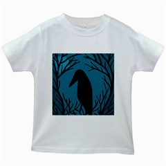 Halloween raven - Blue Kids White T-Shirts