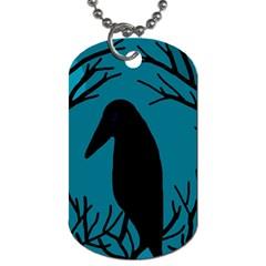 Halloween raven - Blue Dog Tag (One Side)