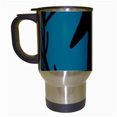Halloween raven - Blue Travel Mugs (White)