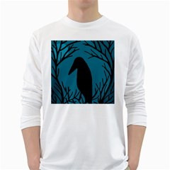Halloween raven - Blue White Long Sleeve T-Shirts