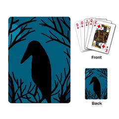 Halloween raven - Blue Playing Card