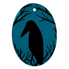 Halloween raven - Blue Oval Ornament (Two Sides)