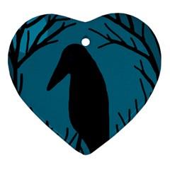 Halloween raven - Blue Heart Ornament (2 Sides)