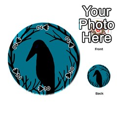 Halloween raven - Blue Playing Cards 54 (Round)