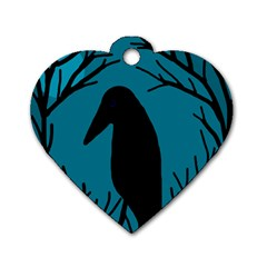 Halloween raven - Blue Dog Tag Heart (One Side)