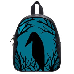 Halloween raven - Blue School Bags (Small)