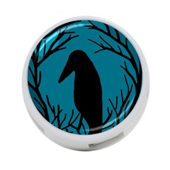 Halloween raven - Blue 4-Port USB Hub (One Side)