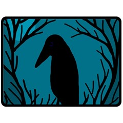 Halloween raven - Blue Fleece Blanket (Large)