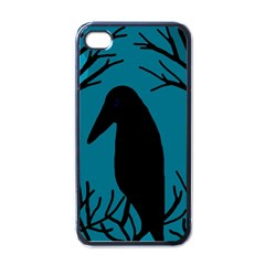 Halloween raven - Blue Apple iPhone 4 Case (Black)
