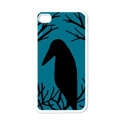 Halloween raven - Blue Apple iPhone 4 Case (White)