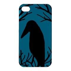 Halloween raven - Blue Apple iPhone 4/4S Hardshell Case