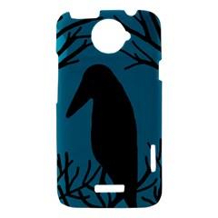 Halloween raven - Blue HTC One X Hardshell Case