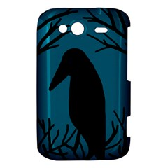 Halloween raven - Blue HTC Wildfire S A510e Hardshell Case
