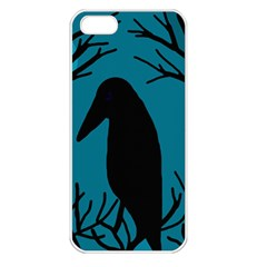 Halloween raven - Blue Apple iPhone 5 Seamless Case (White)
