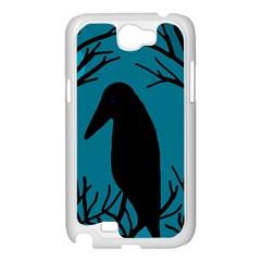 Halloween raven - Blue Samsung Galaxy Note 2 Case (White)