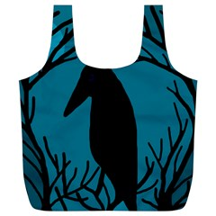 Halloween raven - Blue Full Print Recycle Bags (L)