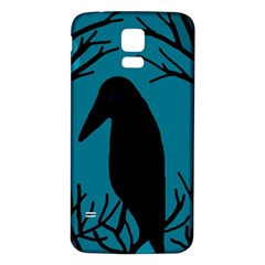 Halloween raven - Blue Samsung Galaxy S5 Back Case (White)