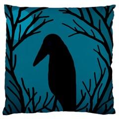 Halloween raven - Blue Large Flano Cushion Case (One Side)