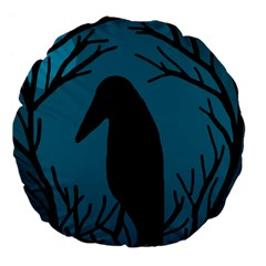 Halloween raven - Blue Large 18  Premium Flano Round Cushions