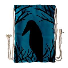 Halloween raven - Blue Drawstring Bag (Large)