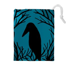 Halloween raven - Blue Drawstring Pouches (Extra Large)