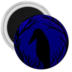 Halloween raven - deep blue 3  Magnets