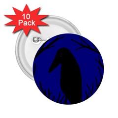 Halloween raven - deep blue 2.25  Buttons (10 pack)