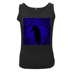 Halloween raven - deep blue Women s Black Tank Top