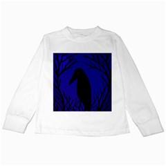 Halloween raven - deep blue Kids Long Sleeve T-Shirts