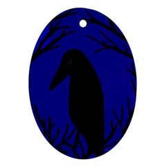Halloween raven - deep blue Oval Ornament (Two Sides)