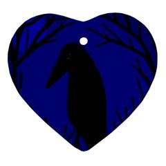 Halloween raven - deep blue Heart Ornament (2 Sides)