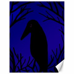 Halloween raven - deep blue Canvas 12  x 16