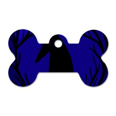 Halloween raven - deep blue Dog Tag Bone (Two Sides)