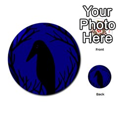 Halloween raven - deep blue Multi-purpose Cards (Round)