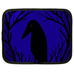 Halloween raven - deep blue Netbook Case (Large)