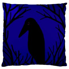 Halloween raven - deep blue Large Cushion Case (Two Sides)