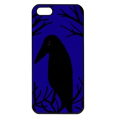 Halloween raven - deep blue Apple iPhone 5 Seamless Case (Black)