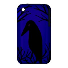 Halloween raven - deep blue Apple iPhone 3G/3GS Hardshell Case (PC+Silicone)