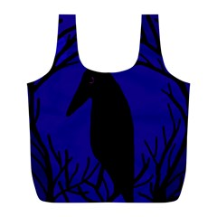 Halloween raven - deep blue Full Print Recycle Bags (L)
