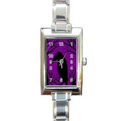 Halloween raven - purple Rectangle Italian Charm Watch